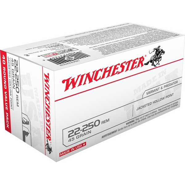 Winchester - Balles Jacketed Hollow Point .22-250 Remington 45gr