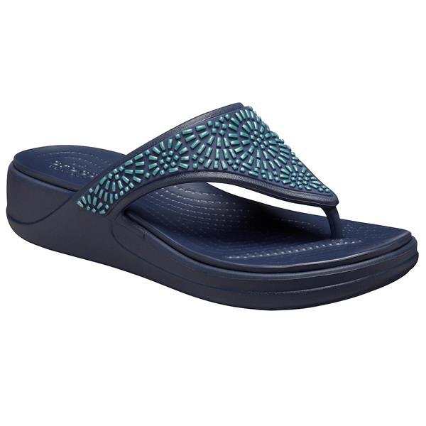 Crocs - Sandales Monterey Diamante Wedge Flip pour femme