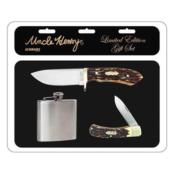 Schrade - Ensemble couteaux et flasque Uncle Henry
