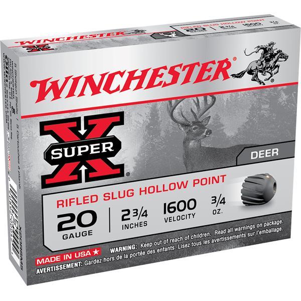 Winchester - Balles Slug à plomb unique, calibre 20